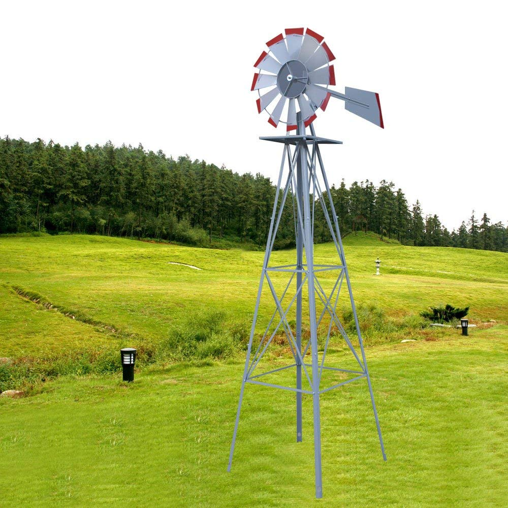GJH One 8Ft Tall Windmill Ornamental Wind Wheel Garden Weather Vane Green and Yellow