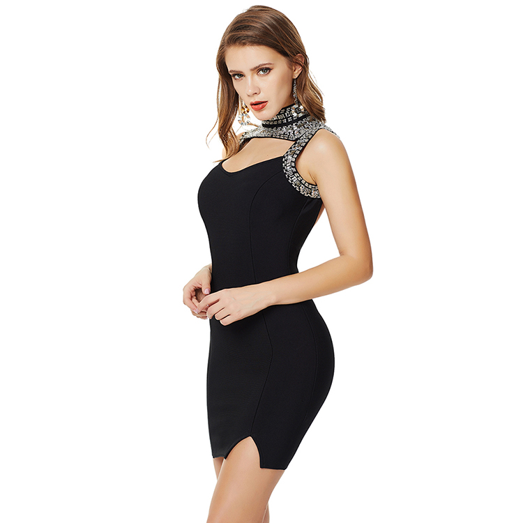 Hot Sale  Zipper Halter Rhinestone Mini Lengthhigh Quality Bandage Bodycon Dress