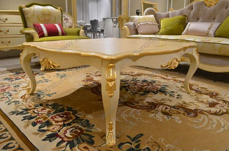 Germany Baroque Furniture Solid Wooden Sculpture Hand Carved Gold Coffee Table