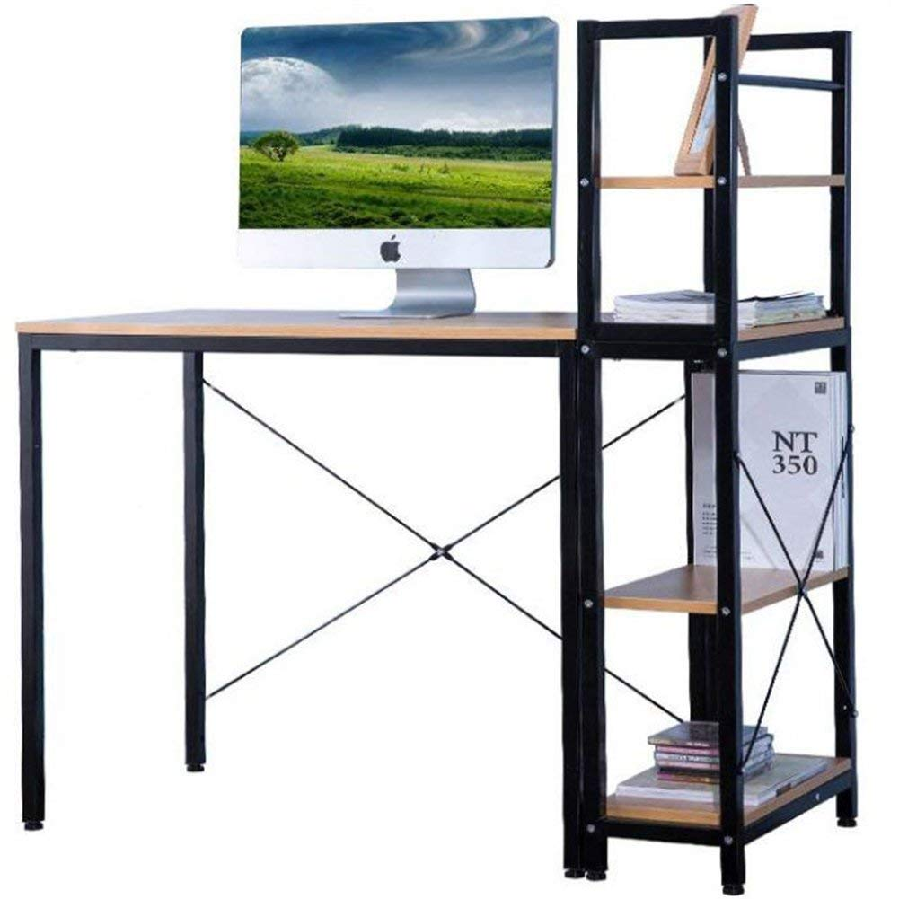 Computer Desk With Storage Shelves 18 inch Deep,JULYFOX Writing Computer Desk Modern Simple Study Desk Wood Table Top Metal Sturdy Frame Home Office Workstation Organizer Black and Oak