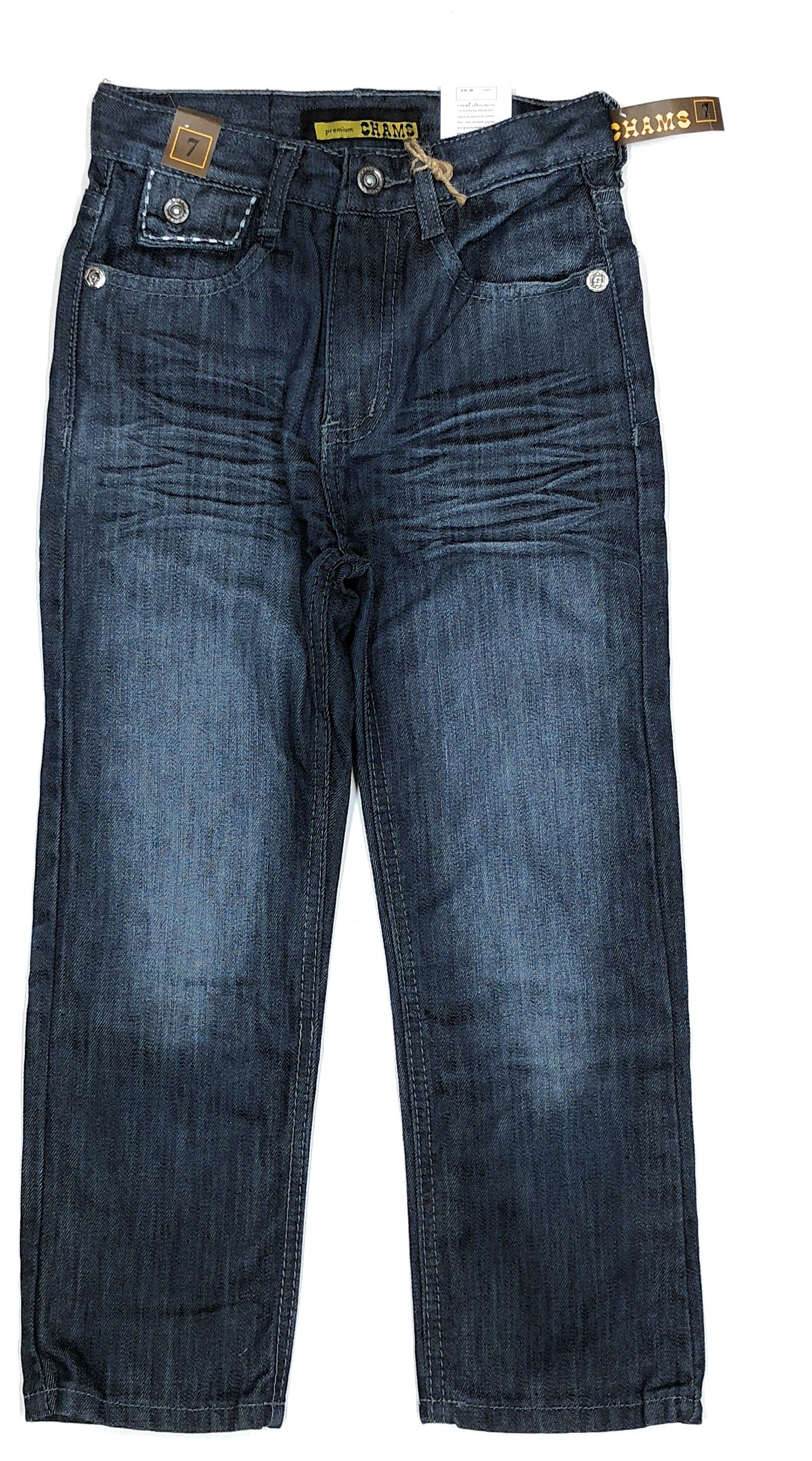 5bbc05fe733e Get Quotations · Chams Boy's Straight Fit Dark Wash Mercerized Baked Denim  Jeans Size: