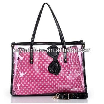 Fashion Customized Logo Printed Clear Pvc Women Tote Beach Handbag With Inside Organizer Bag See Through