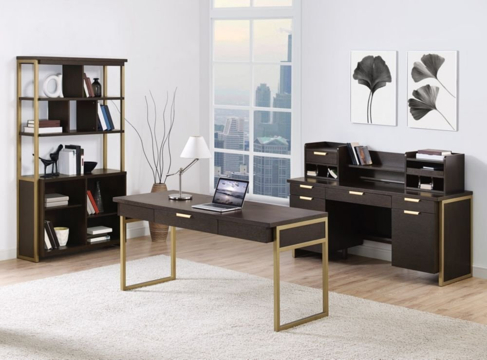"Axis Complete Office Group Dark Mocha/Bronze Tones credenza (64""W x 24""D x 30""H) bookcase (42""W x 14""D x 74""H) hutch (61""W x 13""D x 13""H) writing table (64""W x 26""D x 30""H)"