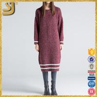 Red beautiful indian round neck pullover sweater dress for ladies
