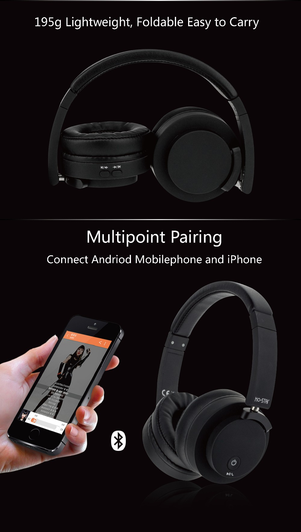 China Factory Price High Performance On-ear Hi-Fi DJ Bluetooth Wireless Headphones