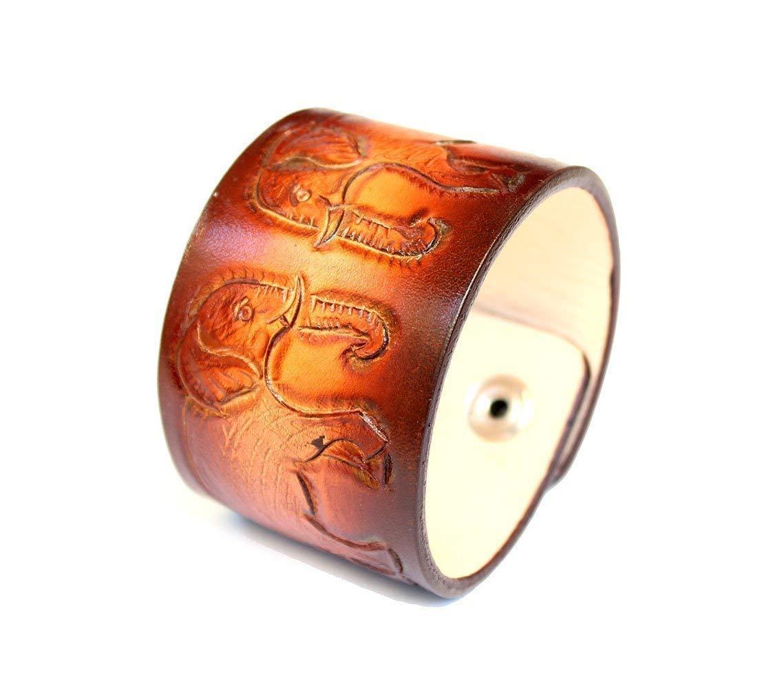 006b2f5ae6f88c Genuine Vegetable Tanned Hand Tooled Leather Bracelet Elephant Engraved  Bracelet for Men Women Handmade Wrist Cuff