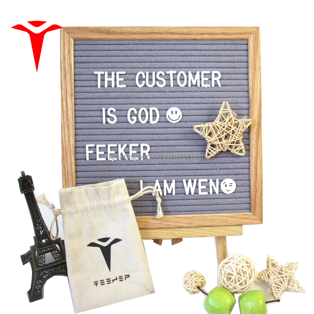 Home Decoration 2018 Wholesale Black Felt Folk Letter <strong>Wooden</strong> Board with Stand