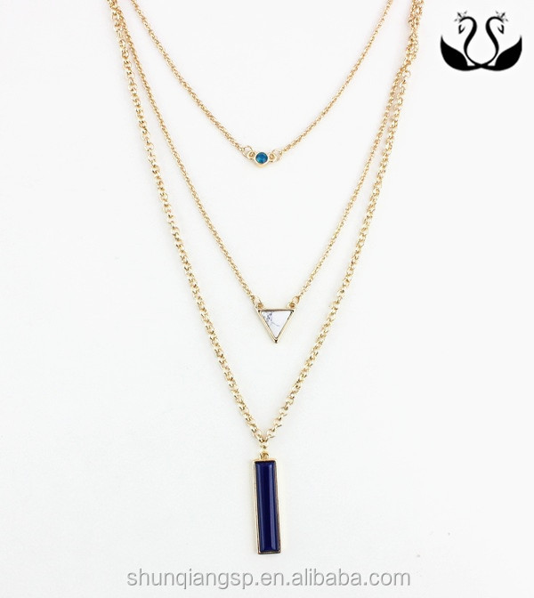 Europe hot selling three Layer chians gold plated lady Gemstone Necklaces