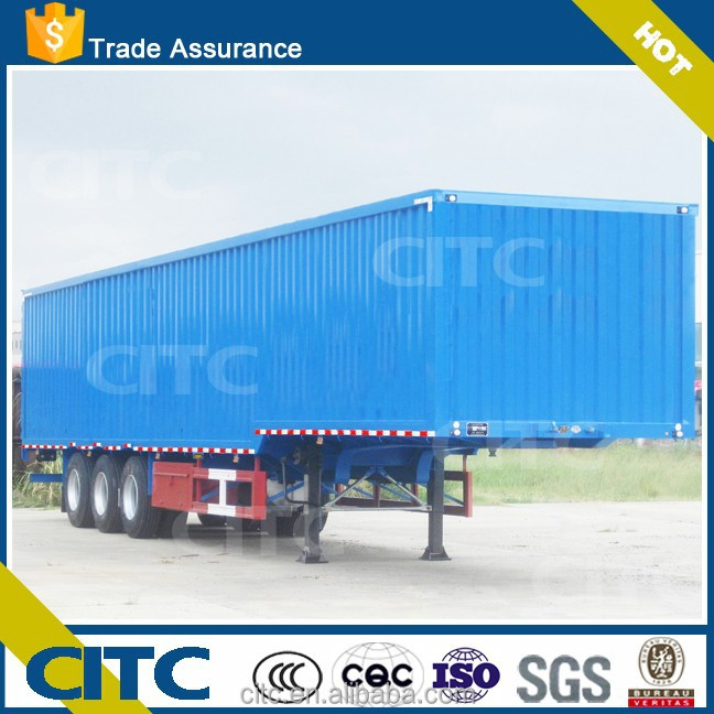 CITC electric appliance/textile transporting box semi trailer / 3 axle van truck trailer with goose-neck for cargo