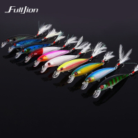 Fulljion Fishing Lures Float Minnow Wobblers Crankbait Artificial Hard Lures 3D Eyes Hooks With Feather Plastic Pesca Baits 1pcs