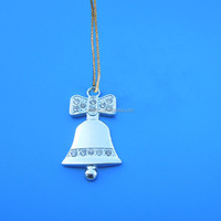 Promotional silver bell shape rhinestone metal charm/ pendant for Christmas