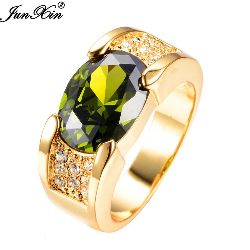 JUNXIN 2016 New Fashion Peridot Sapphire Male Ring 10KT