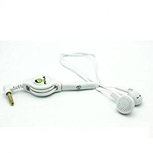 Samsung Galaxy S4 Compatible Retractable Headset Handsfree Mic Dual Earbuds Earphones Wired Headphones 3.5mm [White]