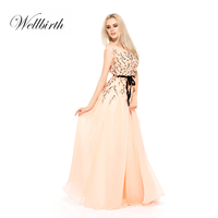 Luxury flowers beaded ladies apricot evening cocktail party dress long chiffon peach traditional bridesmaid even dresses
