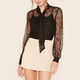 Woman Blouses Top Brand Sheer Floral Embroidered Lace Self Tie Neck Top Ladies Wholesale Tops