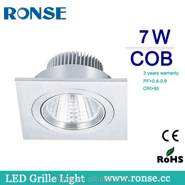 Ronse 7w aluminum square led cob grille light silver body(RS-2101-1(C))