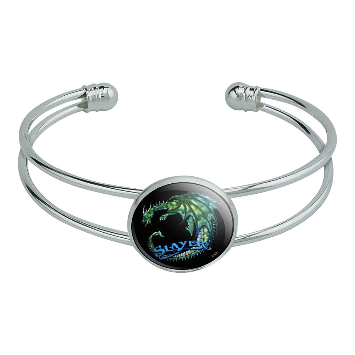 Graphics and More Dragon Slayer Fantasy Gaming Novelty Silver Plated Metal Cuff Bangle Bracelet