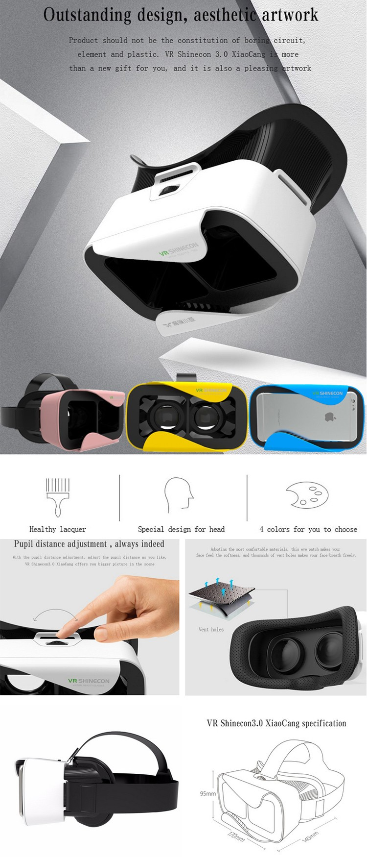 Factory Price for Mobile Phone vr shinecon vr glasses virtual reality headset