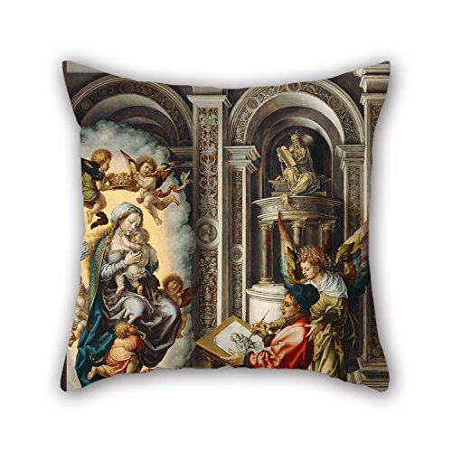 The Oil Painting Jan Gossaert - St. Luke Painting The Madonna Pillow Cases Of 16 X 16 Inches / 40 By 40 Cm Decoration Gift For Relatives Sofa Boys Sofa Coffee House Monther (two Sides)