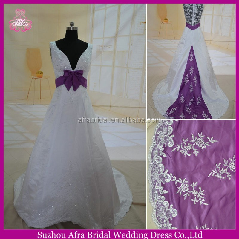 SW173 sheer covered lace back empire waist purple and white wedding dresses