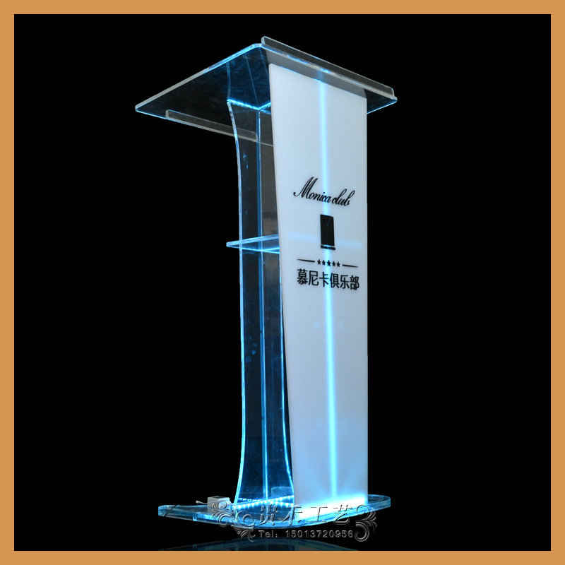 clear acrylic lectern podium, church pulpit.2015 new model podium with LED light