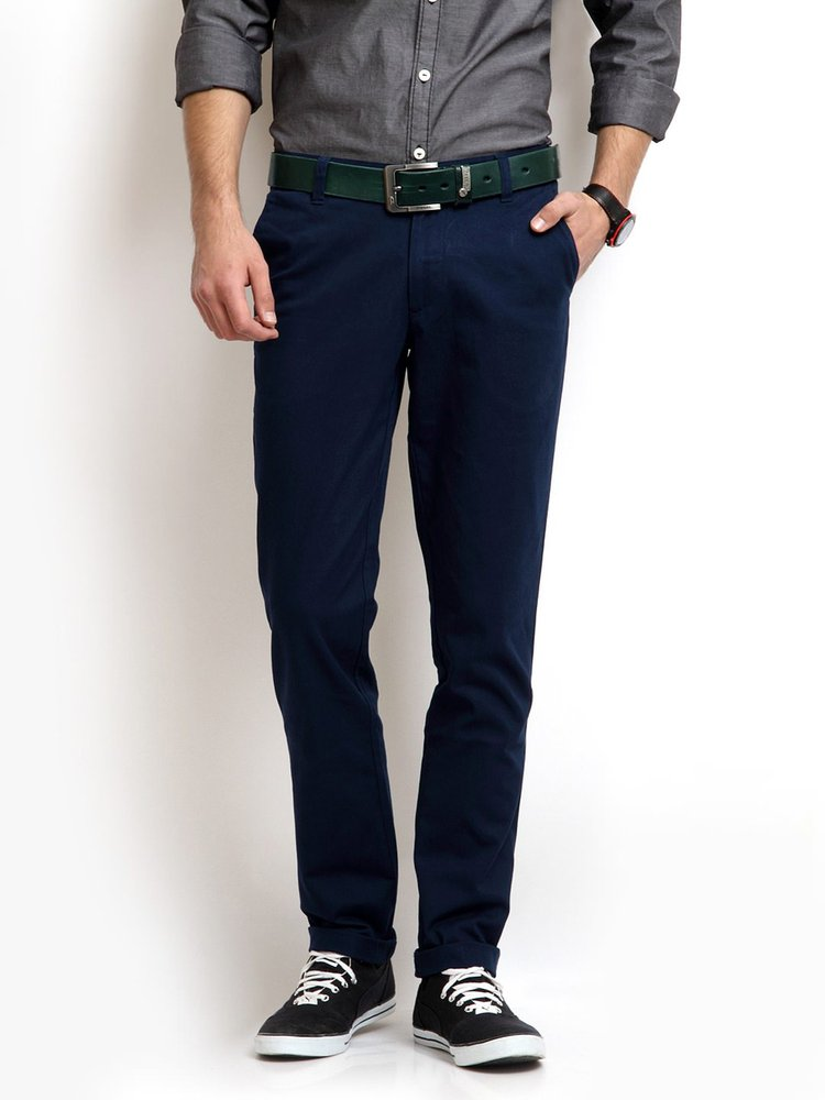 Slim Fit . Cotton Trouser,Navy Blue Pants,Chinos 100% Cotton ...