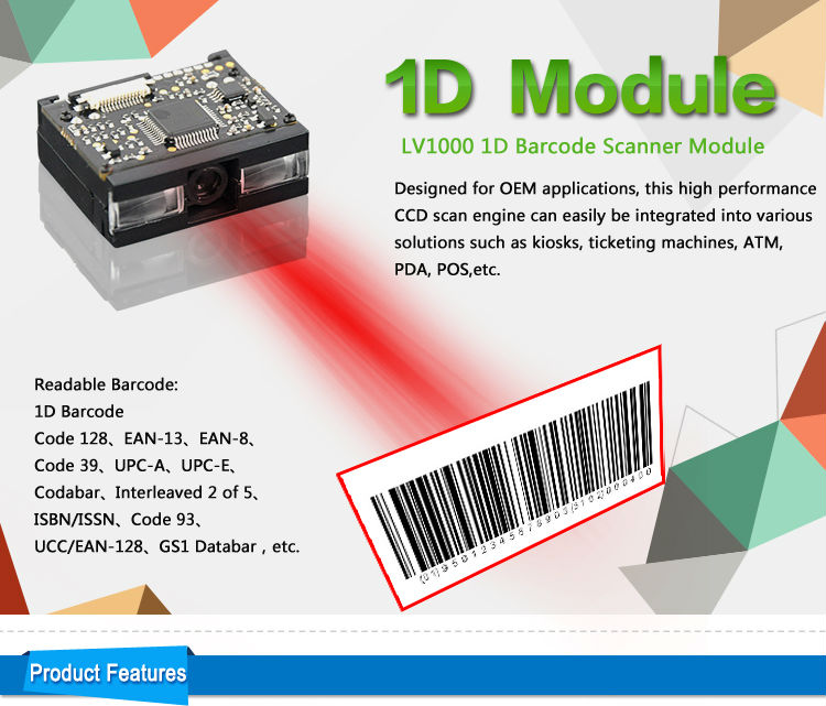 LV1000 Low Cost Mini OEM 1D CCD Embedded Barcode Scanner Module for Handheld Device