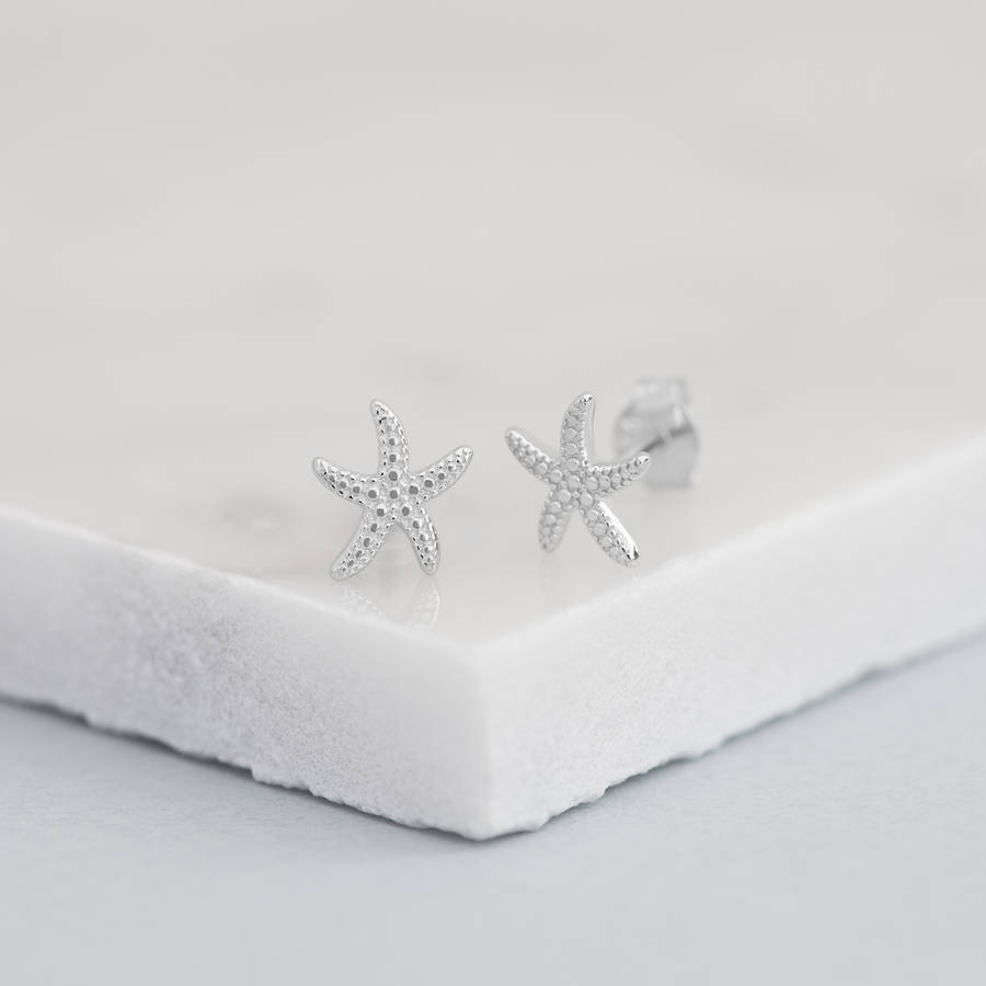 Fashion design sterling silver rose gold plated high polish starfish earrings