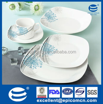 ocean blue and gray 20 pcs tableware porcelain light blue square dinnerware set  sc 1 st  Alibaba : tableware ceramics - pezcame.com