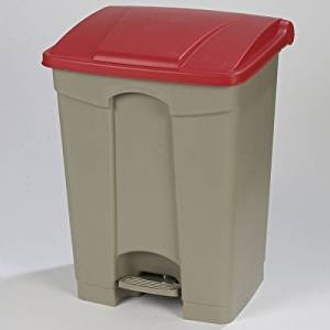Step-On 12-Gal Rectangular Waste Container Color: Red, Size: 18 Gal