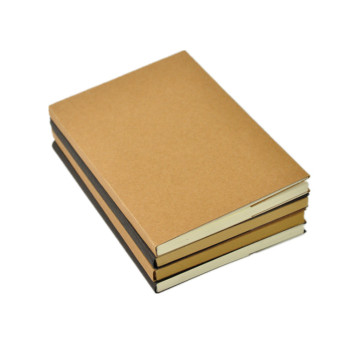 Groothandel A5 Journal Custom Plain Kraft Papier Blanco Cover Schets Notebook Met Naakt Wervelkolom Blootgesteld Binding