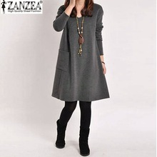 Vestidos 2015 Autumn Winter Women Vintage Long Sleeve Pocket Dress Ladies Casual Loose Solid V Neck Dresses Plus Size