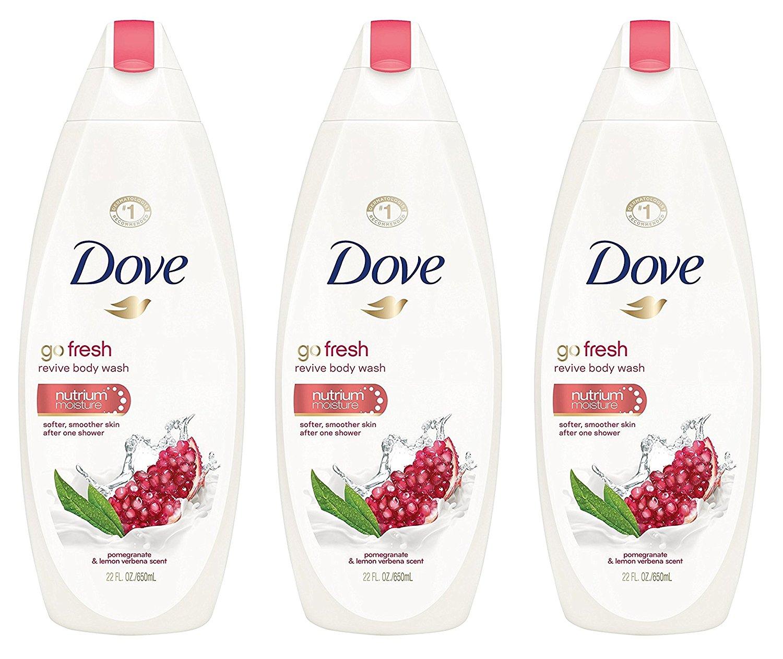 Dove Revive Body Wash - Go Fresh - Pomegranate & Lemon Verbena Scent - Net Wt. 22 FL OZ (650 mL) Per Bottle - Pack of 3