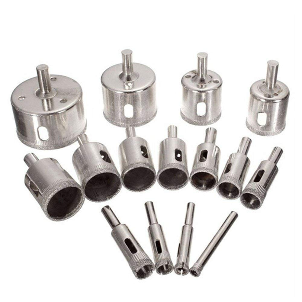 IDABAY Diamond Drill Bits Set 15 PCS Glass Hole Saw for Tiles Glass Ceramic Marble Bottles DIY, 6mm - 50mm