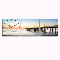90x30cm three panel seascape glass painting modern wall square clock
