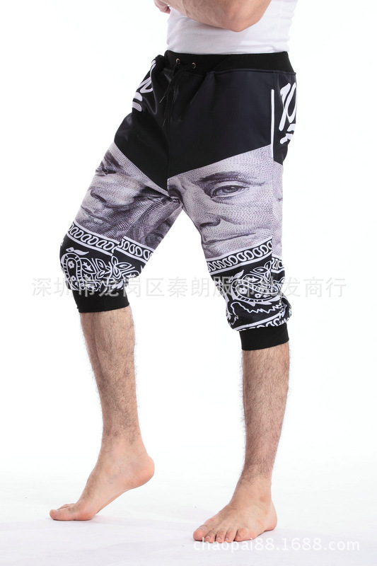 Newest Fashion Emoji 100 Jogger Mens shorts Pants Sport Black Jogging Cartoon Track short Pants boys Harem Sweatpants Trousers