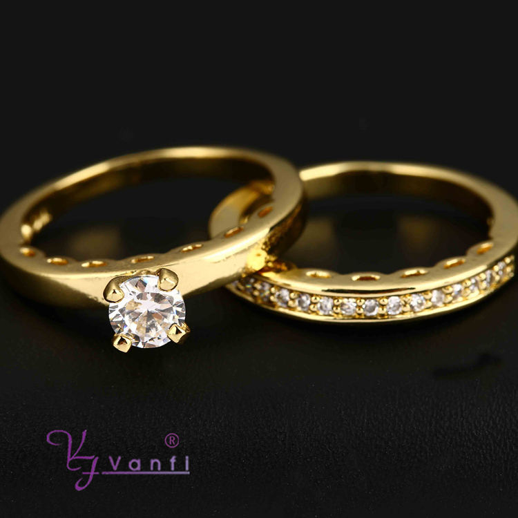 2015 New Style Fashion Wedding Clear Crystal Fancy Gold Double