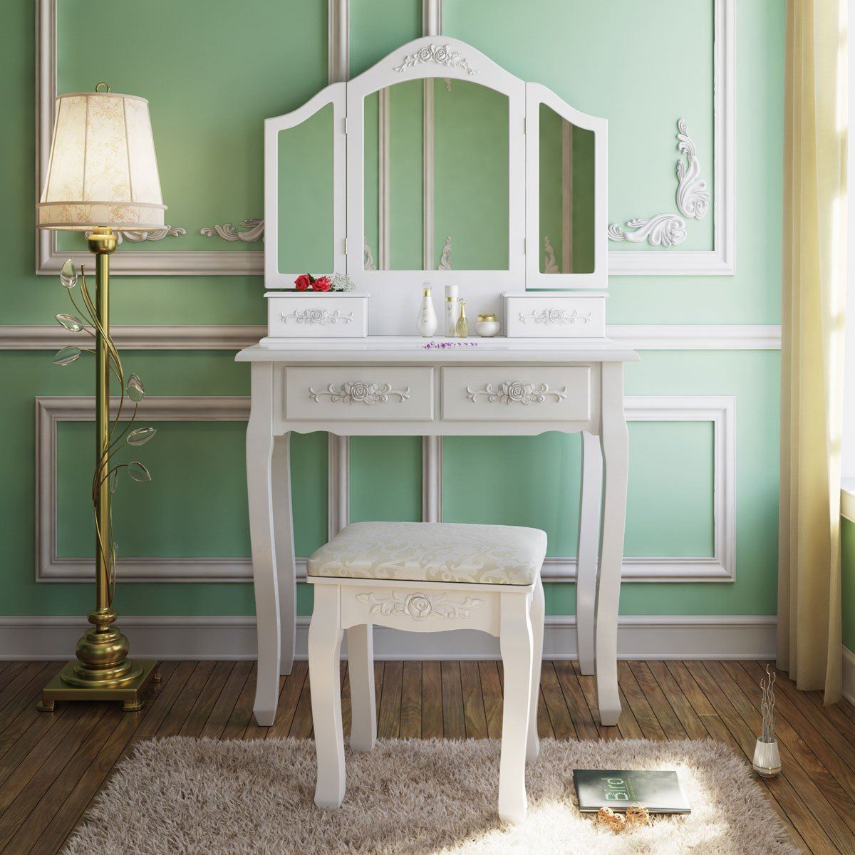 makeup legs with dressing langria set mirror and drawers tri dressers from in bedroom table stool rubberwood fold furniture item solid curved vanity
