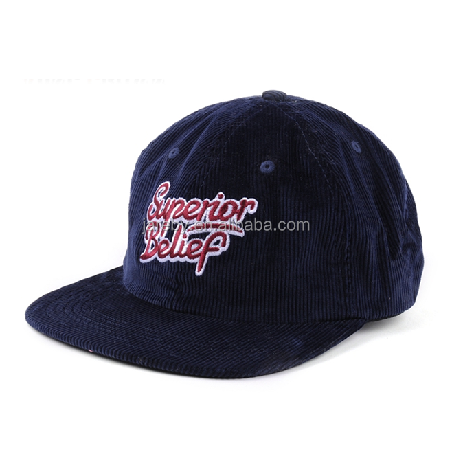 custom embroidery unstructured snapback caps,corduroy snapback hat