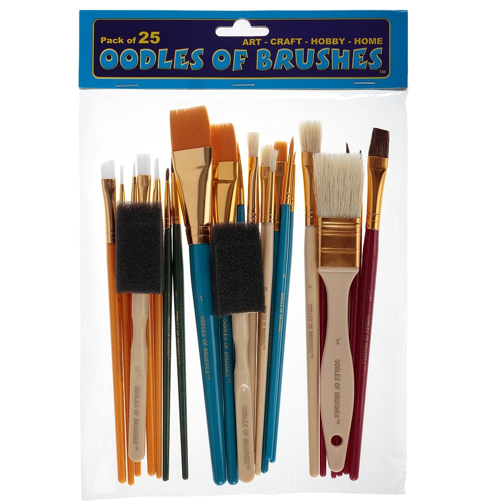 OODLES OF Paint Brushes Kid's Art, Paint, Craft & Multiple Mediums, Beginner Artist & Classroom [Set of 25 Assorted Bulk Pack] Perfect For Watercolor, Oil, Acrylic, Tempera Paints & More