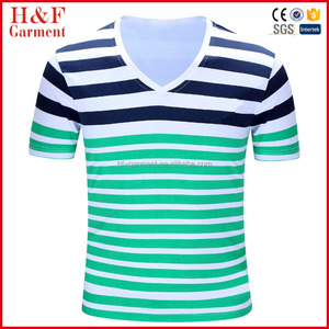 Factory Wholesale Men's t shirts Stripe 100% Cotton Contrast Color V-neck Men's t shirts