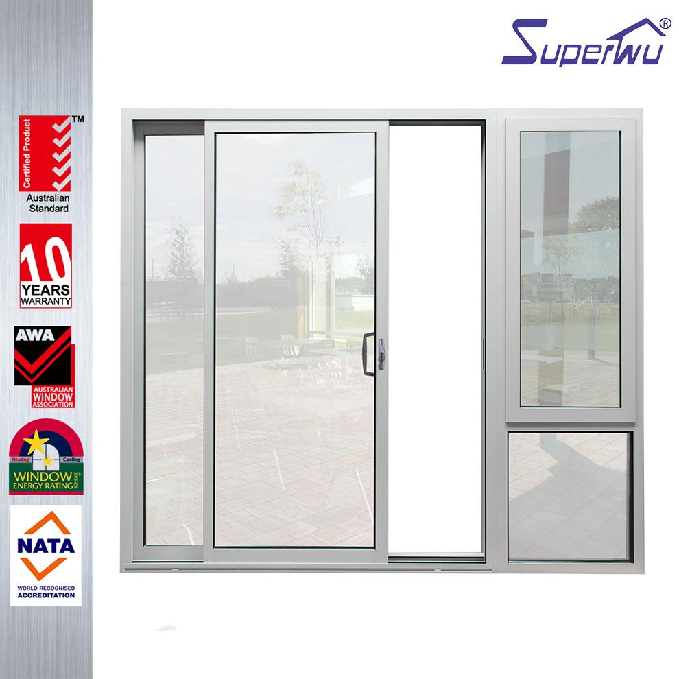 2017 New Fiberglass Mosquito Net Aluminum Main Sliding Door Design With Awning Window
