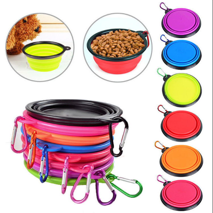 Wholesale Dog Cat Food Water Foldable Travel Bowl Portable Collapsible Silicone Dog Bowl