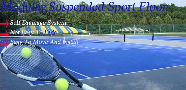 Synthetische opschorten hard plastic verwijderbare tennisbaan oppervlak vloeren met lijn geschilderd