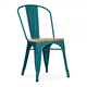 French Style antique bistro retro Metal vintage Side Chair With Natural Wood Seat for dining room