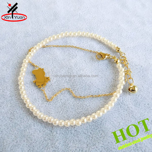 Fashion jewellery pearl gold anklet designs