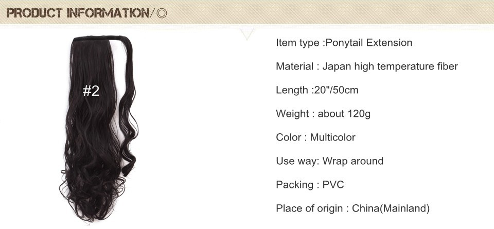 Wholesale- 20inch 50cm Ponytail Clip In Hair Extensions Synthetic Long  Ponytail Hairpiece120g P002 Japan High Temperature Fiber Tail Hair