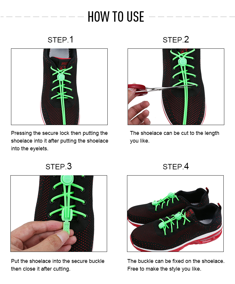 Cheap shoelace accessories lock elastic no tie shoe laces for sneakers