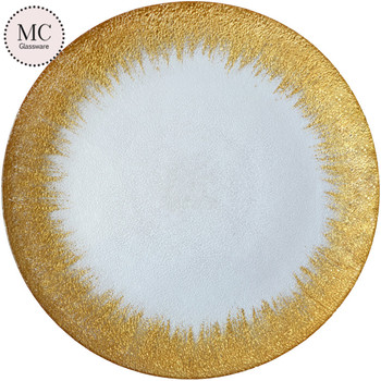 clear round gold decoration glass charger plate for wedding dinnerware