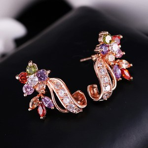 Top grade top sell multicolor zircon stud earrings 22k gold plated